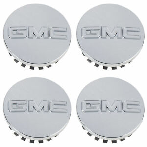 OEM-NEW-Wheel-Hub-Center-Caps-Set-of-4-Chrome-w-Logo-10-19-GMC-19164998