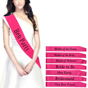 New-Pink-Hens-Night-Bridal-Party-Sash-Bride-Bridesmaid-Maid-Of-Honour-Sashes-SAL