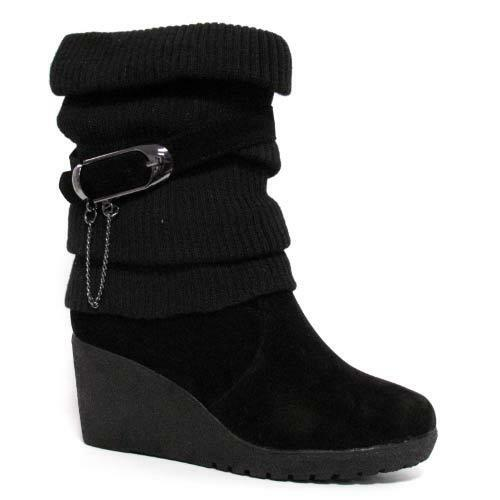Ladies Wedge Boots Women Smart Ankle Calf Biker Fashion Heels Desert Shoes Size