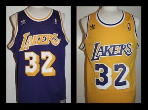 best service ee043 89106 Details about Magic Johnson L.A. Lakers Hardwood Classic Swingman #32  Jersey Purple or Gold