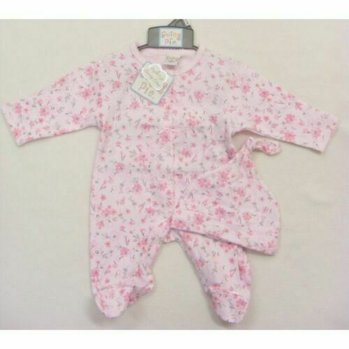 Baby Girls Spanish Style Pink Floral Bows Babygrow Romper /& Hat Outfit