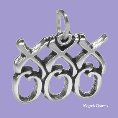 925 Sterling Silver XXX OOO Hugs and Kisses Charm Made in USA