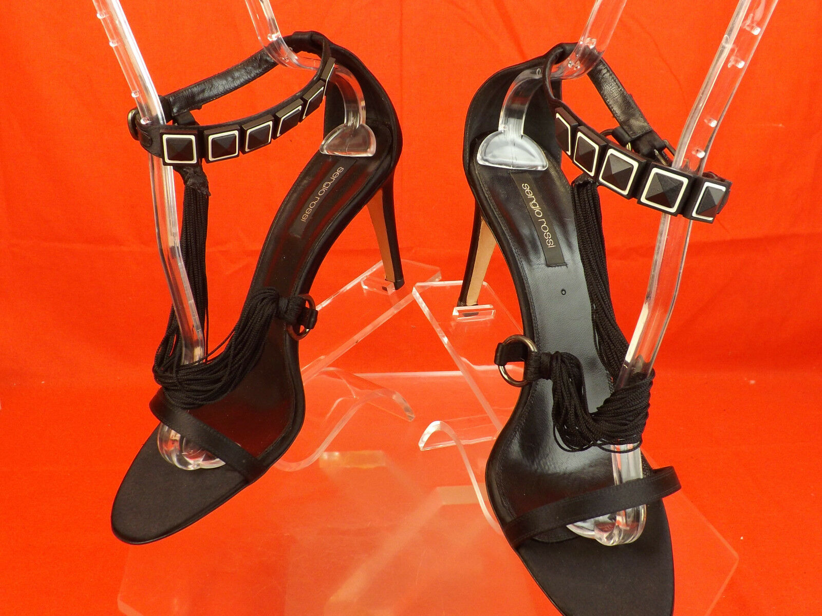 NEW SERGIO ROSSI BLACK SATIN ANKLE STRAP STONES HEEL SANDALS PUMPS 41.5