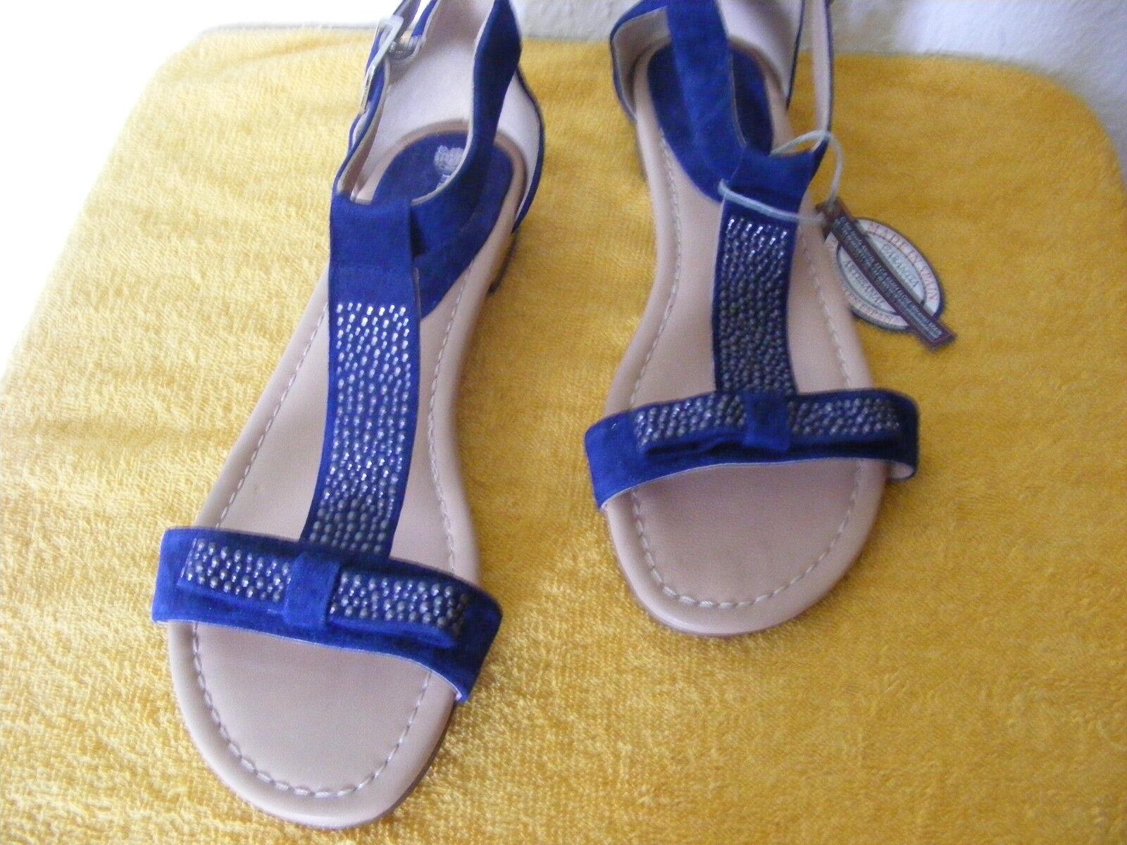 NEU Gr. 38 blaue edle Sandalen flach blau hochwertig neu PEDRO MIRALLES
