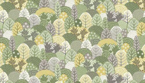 MAKOWER 2265//G clara/'s Garden árboles verde Tela 100/% algodón