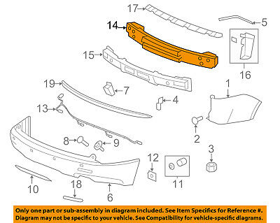 GM OEM Rear Bumper-Impact Reinforcement Bar Rebar 10399543