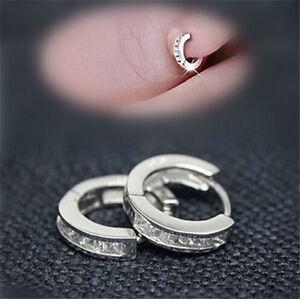 Hoop-Earrings-Hot-Sale-Women-Silver-Plated-CZ-Small-Round-HUGGIE-Ear-Stud