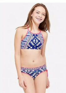 242b07cdf1d NWT Justice Girl's Geometric High Neck Bikini Swimsuit Size 18 | eBay