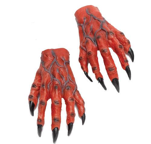 Large Red Devil Hands Demon Monster Halloween Fancy Dress Adult Gloves