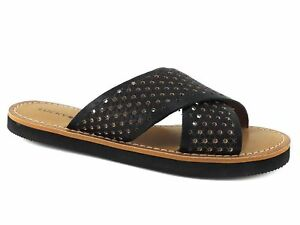 6d62b25d623 Lucky Brand Women s Dadeen Slides Sandals Black Cross Band Leather ...
