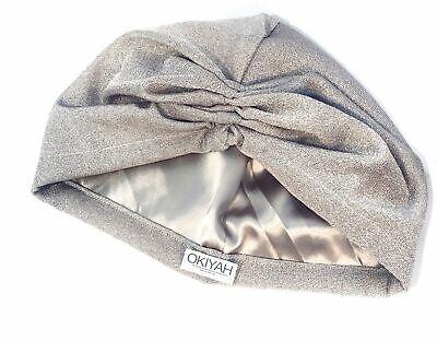 Women's Satin Lined Turban Head Wrap Chemo Cap Satin Bonnet Formal Hat Silver