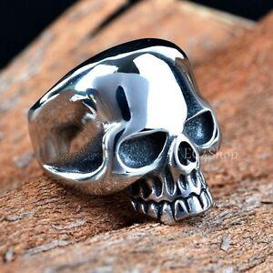 Men-039-s-Punk-Gothic-Rock-Biker-Vintage-Huge-Silver-316L-Stainless-Steel-Skull-Ring