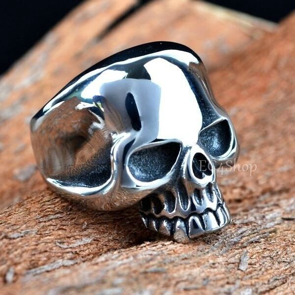 Men's Punk Gothic Rock Biker Vintage Huge Silver 316L Stainless Steel Skull Ring