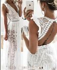 FOREVER HOT! NEW TIGERMIST WHITE SEMI SHEER LACE MAXI FORMAL DRESS 6 8