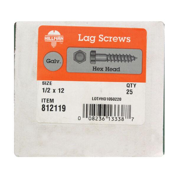 1//2 x 12-Inch 25-Pack Hillman 812119 Hot Dipped Galavanized Hex Lag Screws