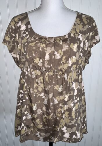 Calvin Klein Jeans Size XL Top Brown Tan Pleated E