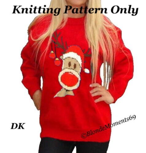 Christmas Rudolph Reindeer Jumper Sweater Knitting Pattern #15 Xmas Intarsia