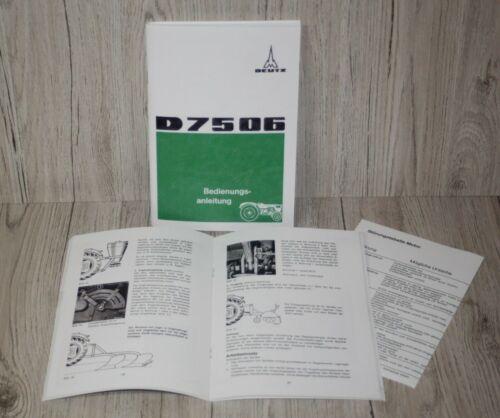 Bedienungsanleitung Deutz Schlepper Traktor D7506