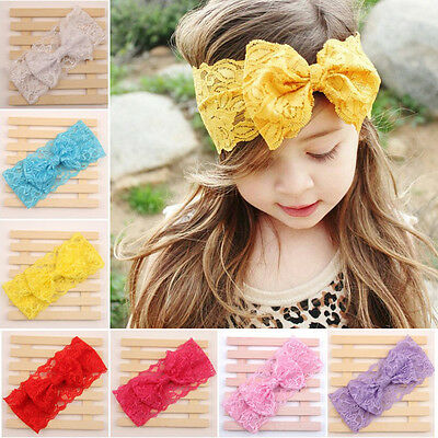 Cute Baby Girls Toddler Infant Lace Bowknot Hairband Headband Hair Accessories
