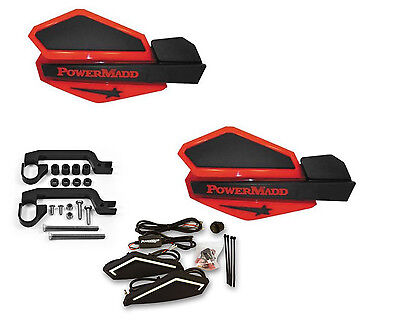 Powermadd Star Series LED Handguards Guards Red White Mount All Sport ATV/'s
