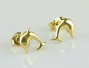 3355fd59a Image is loading New-9ct-Yellow-Gold-Dolphin-Kids-Stud-Earrings