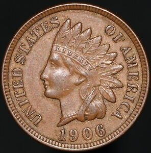 1906-U-S-A-Indian-Head-One-Cent-Bronze-Coins-KM-Coins