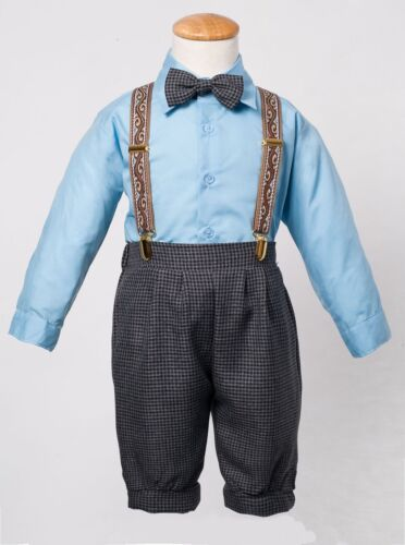 Baby Toddler Knickers Vintage Set Outfit Charcoal Plaid Knickers and Blue Shirt