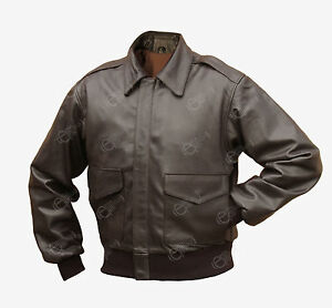 Brown-A2-Leather-Jacket-WW2-US-American-Pilots-Repro-Coat-Airforce-All-Sizes