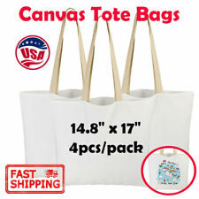 4pcs 148x17 Canvas Tote Bags White Shopping Bags Canvas Bag Diy Sublimation