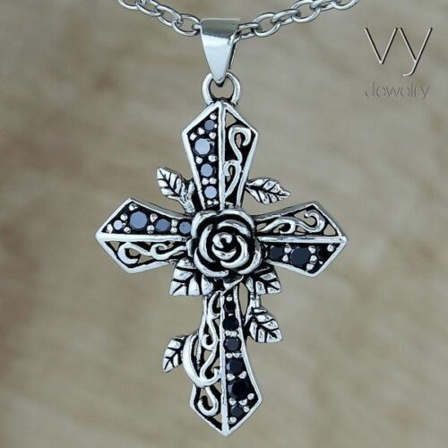925 Sterling Silver Cross Rose Pendentif Noir Pierres Zircon Femmes Hommes Cadeau VY Bijoux