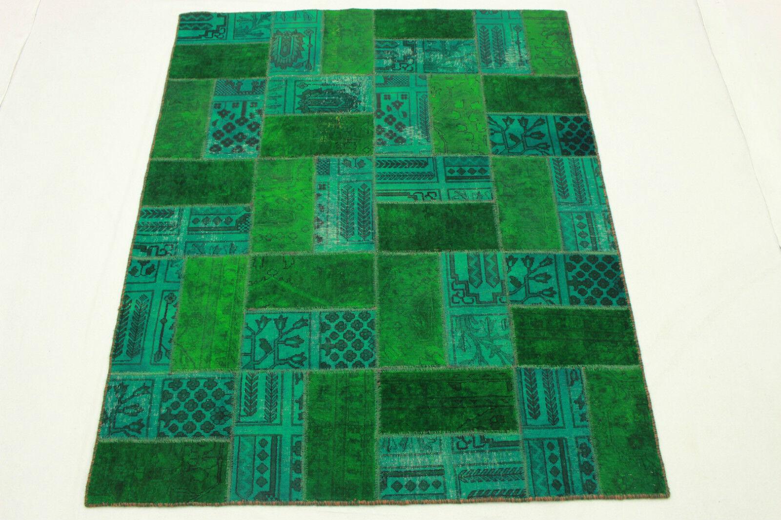 Patchwork Orient alfombra vintage verde Carpet 200x160 verde Modern look usado 1921