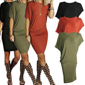 Tubino-da-donna-vestito-camicia-Asimmetrico-Estivo-Manica-Corta-Casual-t-shirt