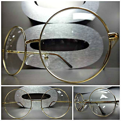 Men Women OVERSIZE VINTAGE Clear Lens EYE GLASSES Large Round Gold Fashion Frame