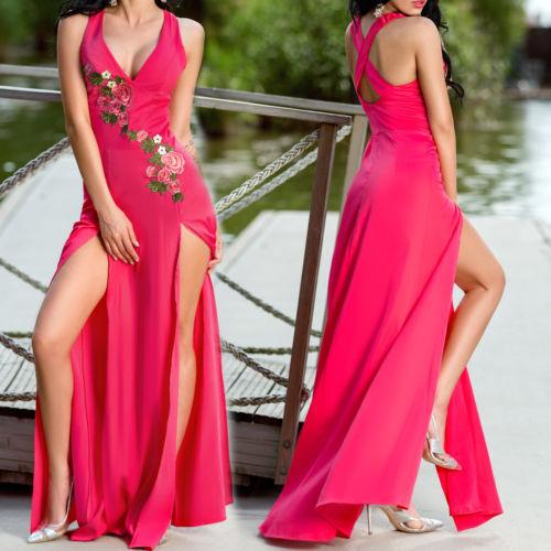 FOGGI Damen Kleid Partykleid Strandkleid Longkleid Tunika 36 38  Rosa-Rot