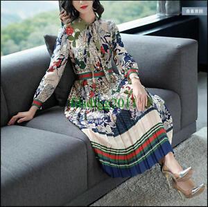 Women-Dress-Maxi-Dresses-Long-Sleeves-Female-Vestidos-Print-Bow-Occident-SZS-2XL