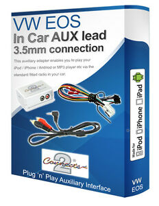 VW EOS AUX lead, iPod iPhone MP3 player, VW Auxiliary adaptor interface kit