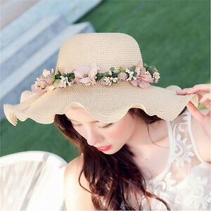 Women Ladies Summer Sun Beach Hat Outdoor Sun Hat with Flowers ... 5c9bcd14aed