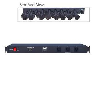 New-Pyle-PCO860-Rack-Mount-Power-Conditioner-Strip-With-USB-Charge-Port