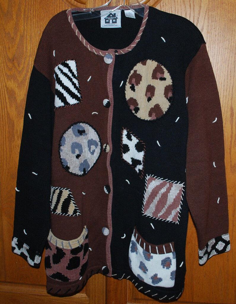 Storybook Knits Large Cardigan Sweater Animal Prints HSN Clothing Exclusive