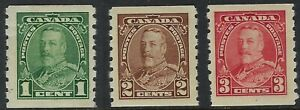 Scott-228-to-230-1c-2c-3c-1935-King-George-V-Pictorial-coil-set-of-3-F-VF-H