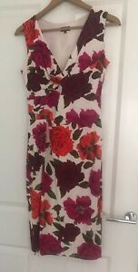 Phase-Eight-Floral-Ladies-Women-Sleeveless-Stretchy-Evening-Party-Dress-Size-12