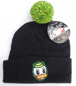 OREGON-DUCKS-BLACK-NCAA-VINTAGE-KNIT-RETRO-BEANIE-POM-Z-WINTER-CAP-HAT-NWT