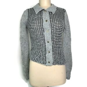 Anthropologie Cabi Women's Grey & Black Snap Up Sweater Jacket, Size Small