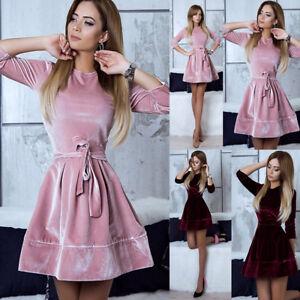 Women-Fashion-Velvet-Party-Cocktail-Mini-Dress-Ladies-Long-Sleeve-Skater-Dresses