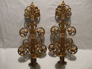 Vtg Pair Syroco Homco Usa 1 Arm Wall Sconce Candle Holder 4776 Ebay