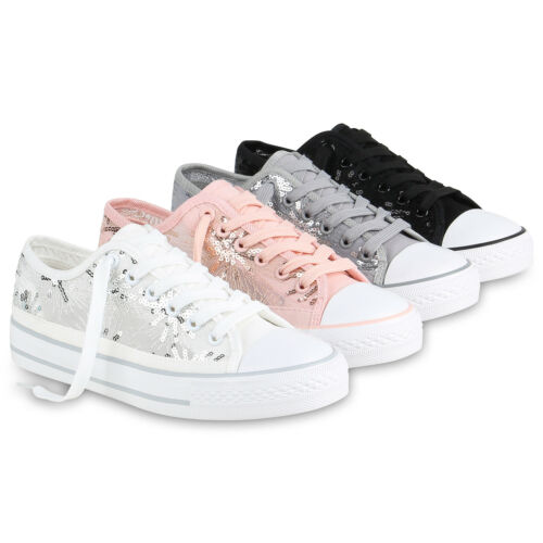 Damen Sneaker Low Spitzenstoff Pailletten Turnschuhe Schnürer 820845 Schuhe