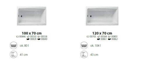 Ablauf GRATIS! Badewanne Rechteck Capri 100//120 x 70 cm Schürze