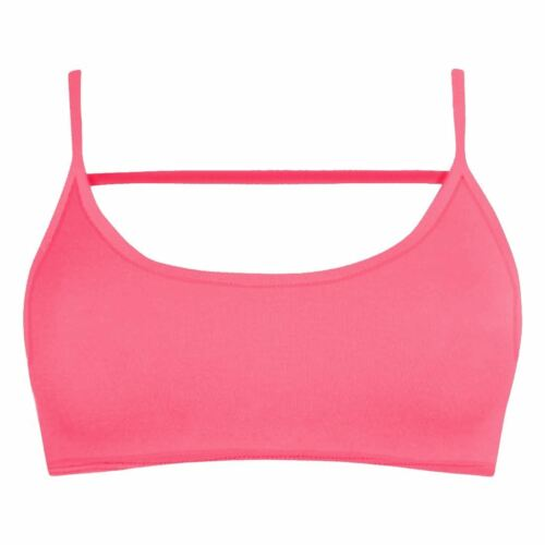 New Ladies Plain Backless Cami Strap Vest Bralet Open Back Strappy Bra Crop Top