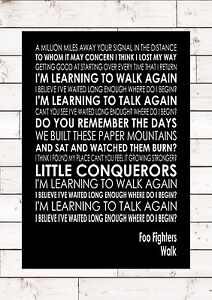 walk foo fighters word typography words song lyric lyrics music wall art ebay. Black Bedroom Furniture Sets. Home Design Ideas