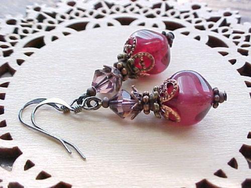 Cranberry Earrings Pink Vintage Glass Collector Victorian Civil War Reenactment